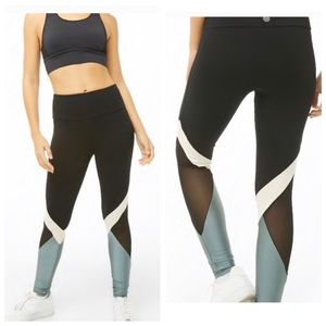FOREVER21 Active Metallic Color block Leggings